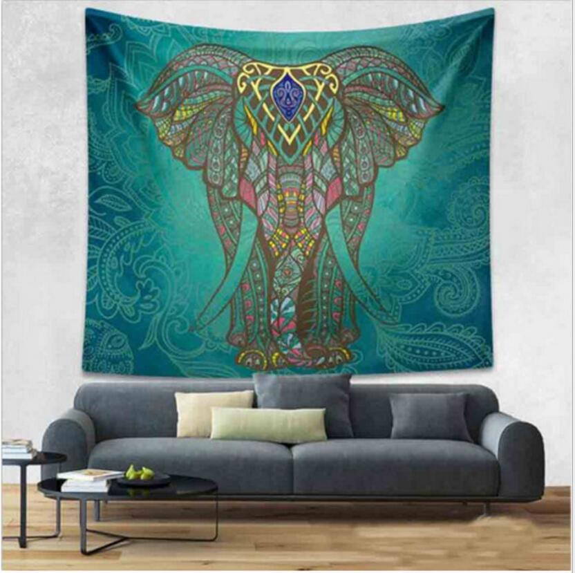 Enipate Indian Elephant Tapestry Aubusson Colored Printed Decor Mandala Tapestry Religious Boho Wall Hanging Living Room Blanket