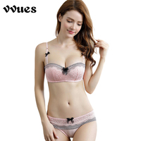 VVUES Womwn's Bra Set Half Cup Lace Embroidery Sexy Lace Bra Set Young Girl Push Up Support Intimate Underwear Ladies Bralette