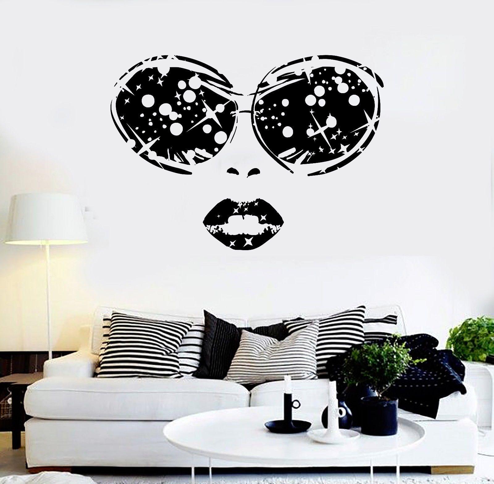 Eyes wall stickers wow modern beauty salon valentine wall decoration - Vinyl Decal Sexy Woman Face Glasses Lips Girl Beauty Salon Wall Sticker China