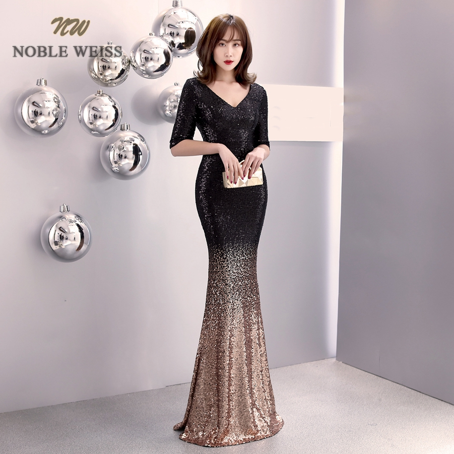 Image 4 - prom dresses 2019 v neck mermaid prom dress sexy vestidos de gala  zipper back floor length prom gown with short sleevesProm Dresses   -