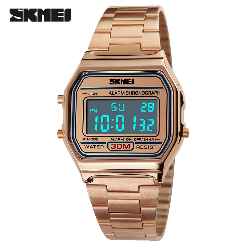 Relogio Feminino SKMEI Watch Women Fashion Luxury Rose Gold Watch Reloj Mujer Waterproof Stainless Steel Ladies Digital Watches