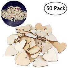 BESTOYARD DIY Blank Heart Wood Slices Discs Love Unfinished Natural Crafts Supplies Wedding Ornaments