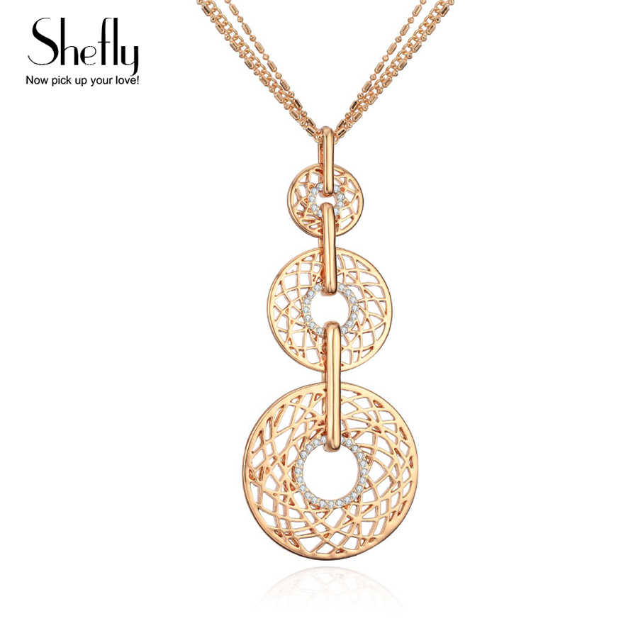 Gold Necklace Women Trendy 3 Crystal Circles Fashion Necklaces 2019 Sweater Chain Long Necklace Ethnic Jewelry Gift for Party