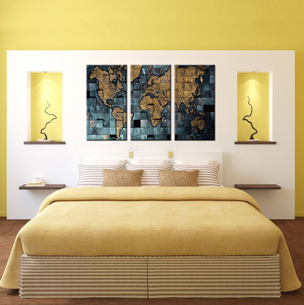 3 Panel Wall Art World Map Poster Office Decor Contemporary Wall ...