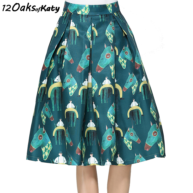12 OAKS OF KATY Europe America Women Fashion Vintage High Waist Skirt S To XXL Expansion