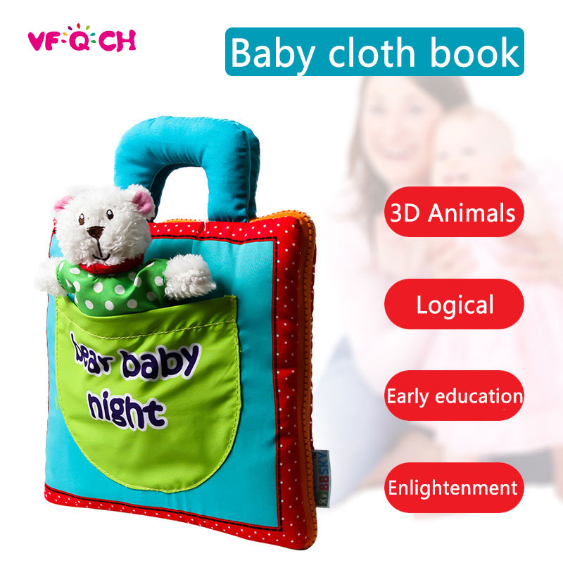 Funny Soft Baby Quiet Cloth Book Infant Bear Night 3D Activity Book Newborn Baby Toys Early educational toy Books for Kids 2018 infant early cognitive development my quiet books soft books baby goodnight educational unfolding cloth books activity book