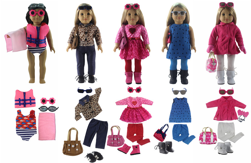 5 PCS Doll Clothes+6 Pairs Glasses+4 Pairs Shoes+3 Tights+4 Bag+1 Towel for 18 American Bitty Baby Doll S175 PCS Doll Clothes+6 Pairs Glasses+4 Pairs Shoes+3 Tights+4 Bag+1 Towel for 18 American Bitty Baby Doll S17