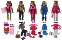 5 PCS Doll Clothes+6 Pairs Glasses+4 Pairs Shoes+3 Tights+4 Bag+1 Towel for 18'' American Girl Bitty Baby Doll S17