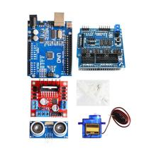 1*Smart Car KitTracking Motor Robot Chassis Smart Car Kit 4WD Ultrasonic For Arduino Easy start/stop L298N Modules Replacement tracking motor smart robot car chassis kit 2wd ultrasonic for arduino mcu