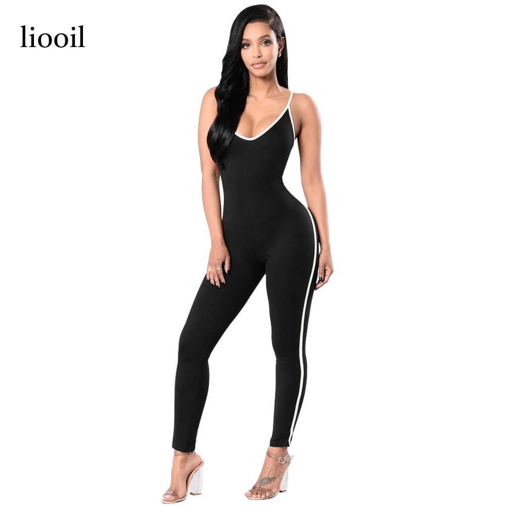0853458bf Liooil Sexy Straps Deep V Neck Rompers Womens Jumpsuit Summer White Stripe Sleeveless  Backless Black Bodycon