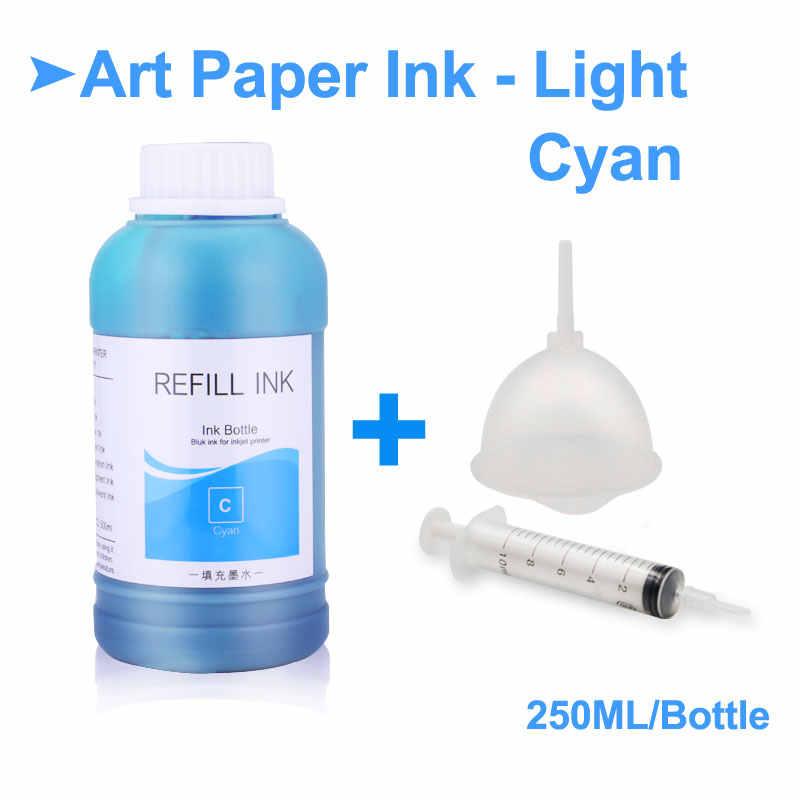 250 ml/Bottle Garrafa de Arte Papel De Tinta Para Epson P50 P60 L800 1390 1400 1410 1500 W de Recarga de Impressora papel de Arte De tinta Tinta Pigmentada Para Epson