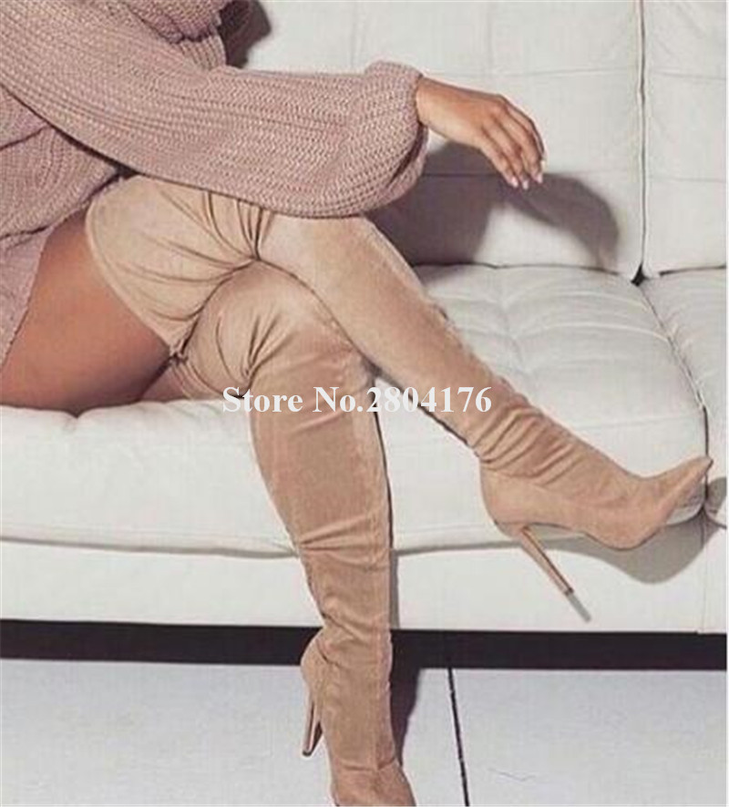 Slim Fino Zapatos La Rodilla Tacón Botas Sexy Mujeres Corte Moda Las Occidental Estilo Cuero Vestir Largo Alto De Sobre 0q4fOO