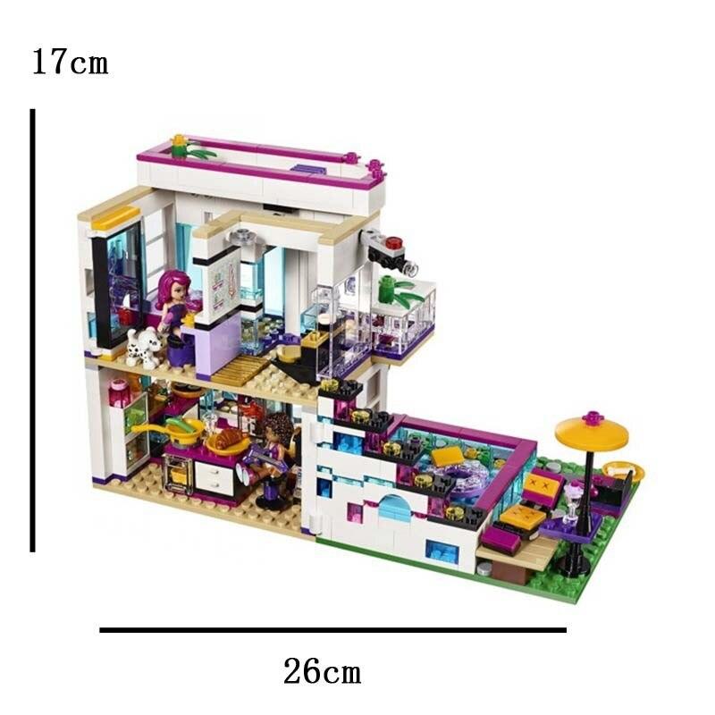 644pcs 친구 소녀 시리즈 팝 스타 하우스 compatibie legoings 빌딩 블록 장난감 키트 diy 교육 어린이 생일 선물-에서모델 빌딩 키트부터 완구 & 취미 의  그룹 1