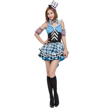 Umorden Blue Manic Mad Hatter Costume High Low Dress for Women Girls Halloween Alice in Wonderland Costumes