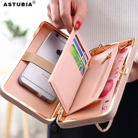 ASTUBIA Luxury Pink Women Wallet Case For One Plus 5T Case Silicone Phone Bags For OnePlus