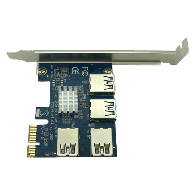 4 Ports USB 3.0 PCI-E Express 1X to 4X Converter Expansion Card Adapter PCIe X1 Riser Card For BTC Bitcoin Mining Machine