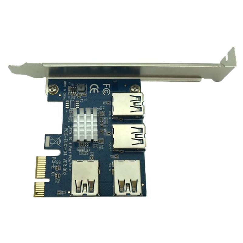 4 puertos USB 3.0 pci-e Express 1X a 4X convertidor adaptador de tarjeta de expansión PCIe X1 tarjeta vertical para BTC bitcoin máquina de explotación minera