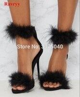 Ravryy Summer Shoes Gladiator High Heeled Sandals Fur Fashion Stiletto Heels Women Sandals Sexy Shoes