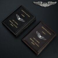 Винтаж армии США AIR CORPS ID Card Holder Пояса из натуральной кожи, чехол-папка Best подарок для пилот авиации любовник коллекция