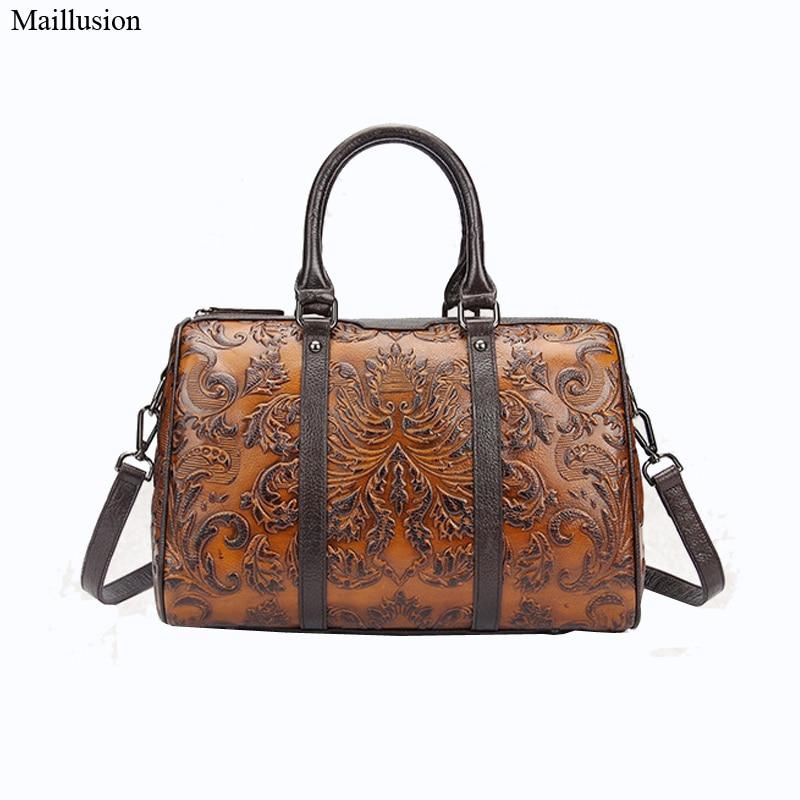 Maillusion Women Bag Genius Leather Handbags Hot Medium Shoulder Bag Embossing Vintage Evening Bag Brand Lady Tote Luxury Bolsa