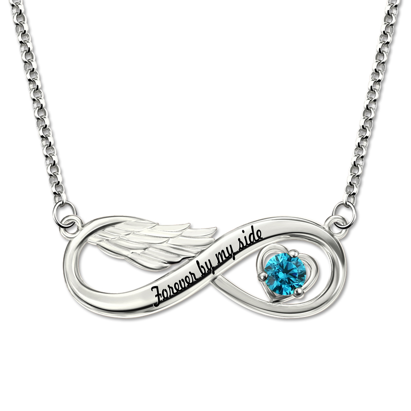Custom Letter Infinity Pendant Necklace Personalizable Name Angel Wings Necklace with Engraving Crystal Stone Necklaces Silver