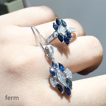 KJJEAXCMY exquisite jewelry 925 pure silver inlaid natural sapphire ladies jewelry set rings pendant 2 pieces