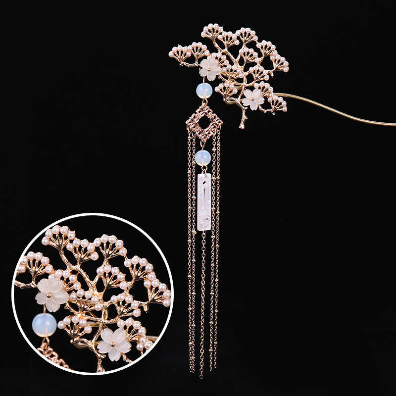 FORSEVEN Chinese Traditional Flower Simulated Pearls Tassel Hair Clasp Hair Sticks Hairpin Women Girl Wedding Party Headwear