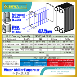 13.5TR/47.5KW Evaporator standard material is stainless steel AISI304 and other material (SMO 254, Titanium) is optional