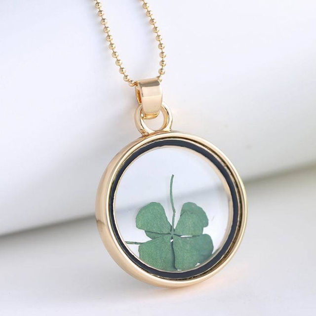 Four Leaf Clover Shamrock Real Flower Necklace Circle Jewelry Lucky Pendant