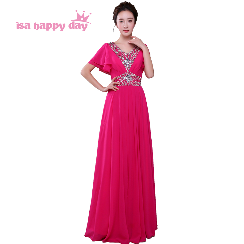 Real Pictures Long Blue Hot Pink Chiffon Party Bridemaid Dress Fuschia Bridesmaid Dresses For Bridesmaids New Fashion H4160