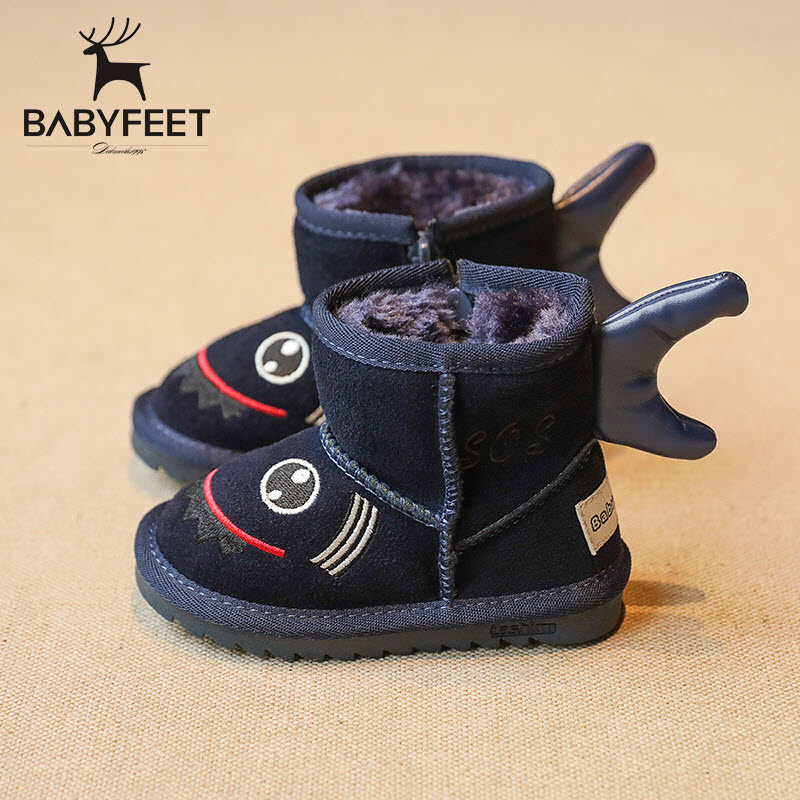 babyfeet Winter fashion Warm Plush high top children ankle enfants toddler boys shoes girls boots kids leather child female snow