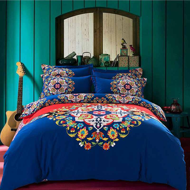 Bohemian Bedding Set King Double Size 4pcs Sanded Cotton Flower