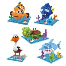 HSANH kawaii Poror larva Finding Nemo Marlin Dory Bruce Nigel plastic building blocks cartoon model educational