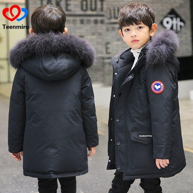 fe6e4ac1b Boys Winter Jacket Children Duck Down Coat Kids Long Fur Parka Boy ...