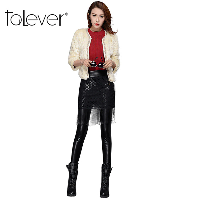 2016 New Fashion Women's Tassel Skirt Leggings PU Leggings High Elasticity Slim Leather Pants Plus Velvet Pants Female Trousers