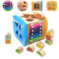 2019 Baby Toys For Kids Children Wooden Early Education Multi Function Shape Matching Box Block For Kid Beaded Digital Cognition