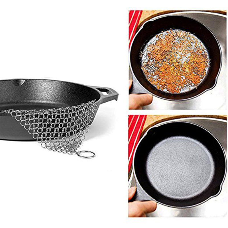 Stainless Steel Kitchen Gadgets Wash Pot Tool Chainmail Scrubber Finger Cleaner Rings Brush for Pan Dish Bowl Mayitr