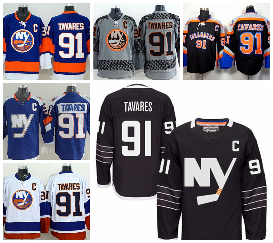 New York Islanders Jerseys 91 John Tavares Jersey Blue White Orange Gray Black Premier Alternate Stadium