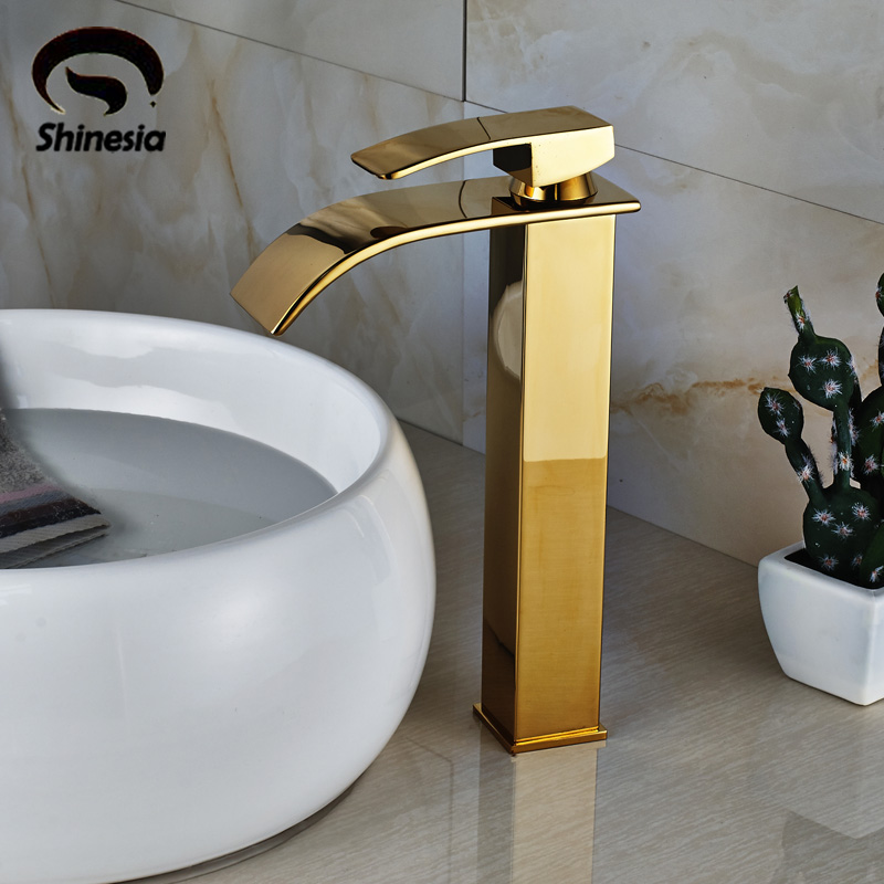 Free Shipping Bathroom Sink Faucet Single Handle Waterfall Spout Basin Mixer Tap Deck Mounted Golden Color becola basin faucet luxury bathroom golden mixer single handle single hole deck mounted waterfall tap lt 509 free shipping