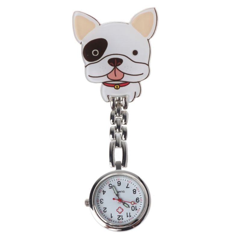 Nurse Watch Quartz Cute Puppy Cartoon Hang Clip Medical Women Watches Pocket Chest Portable Time Supplies Jewelry Gifts Charm