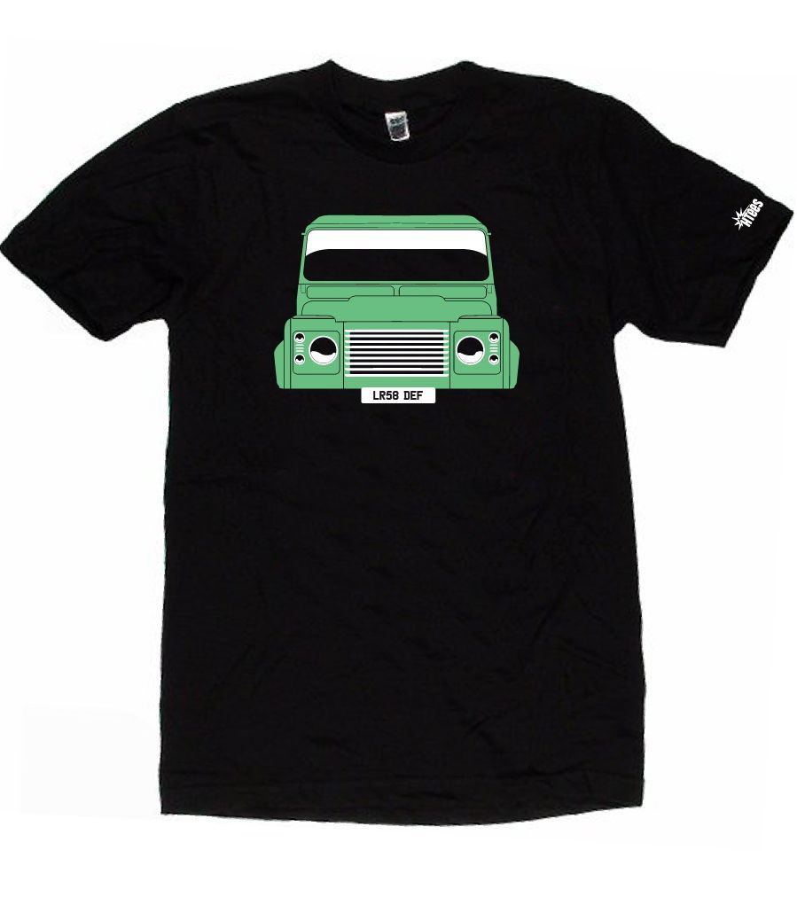 CUSTOM HTees T-shirt - LAND ROVER DEFENDER, Pick car colour & plate, S-XXXL