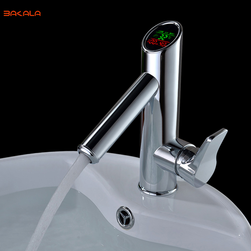 BAKALA Bathroom LED Digital basin Faucet Water Power Basin Mixer Solid Brass Chrome plated temperate display