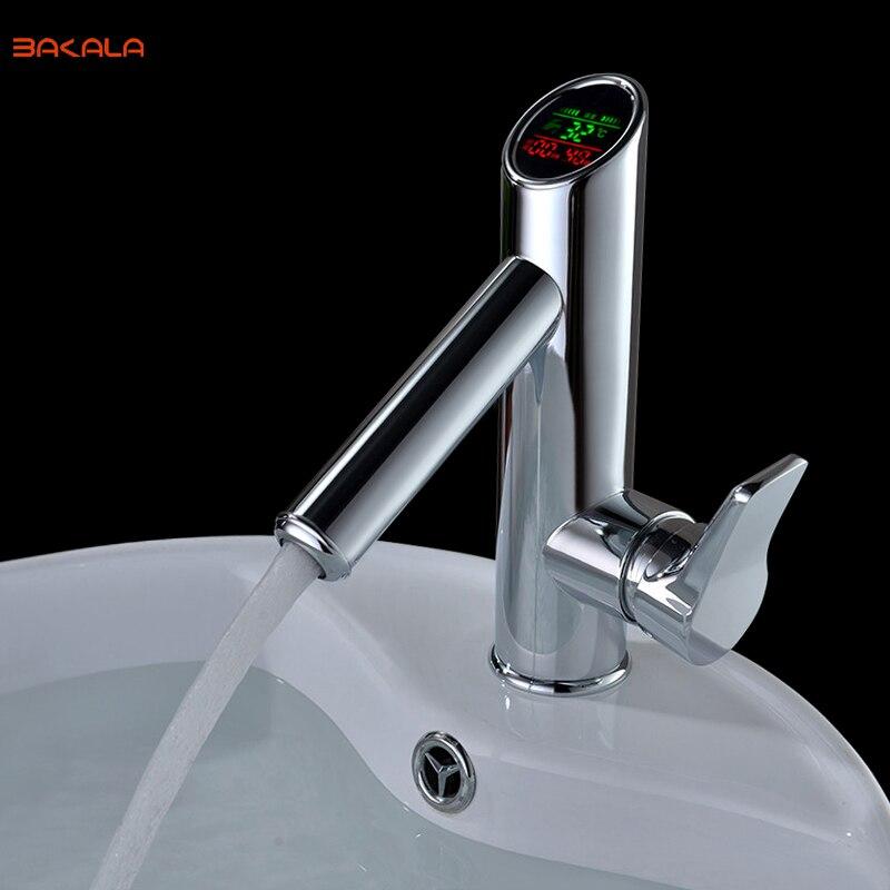 BAKALA łazienka LED cyfrowy zasilania bateria umywalkowa wody bateria umywalkowa. Stałe wyświetlacz mosiądz chromowany płn kran z kranu w Baterie umywalkowe od Majsterkowanie na AliExpress - 11.11_Double 11Singles' Day 1