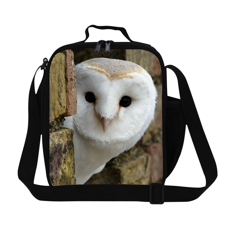 Personalized animal lunch bag for womens work,cute owl print picnic bag for kids,girl small animal lunch cooler bag for children