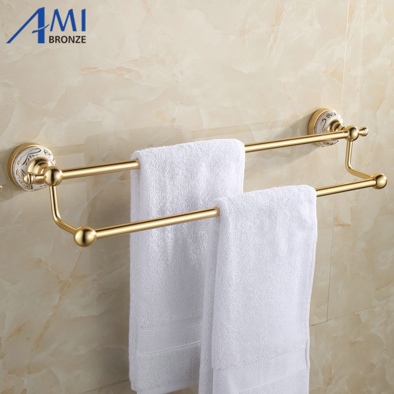 ФОТО 31GAP Series Golden Polish Aluminum Porcelain Base Wall Mounted Double Towel Bar Bathroom Accessories Towel Rack Towel Shelf