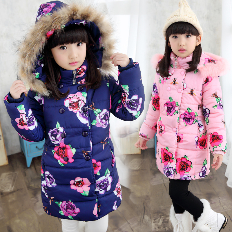 New Children Winter Outerwear 4-13Y Girls Warm Winter Coat With Hooded Thickening Cotton-padded Jackets For Girls Flowers Tops new 2017 men winter black jacket parka warm coat with hood mens cotton padded jackets coats jaqueta masculina plus size nswt015