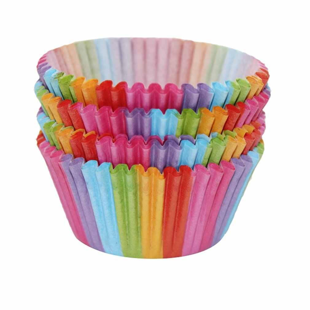 Pvc バケツ虹ケーキ紙カップマフィンケーキチョコレートもち米紙トレイ包装 100 個