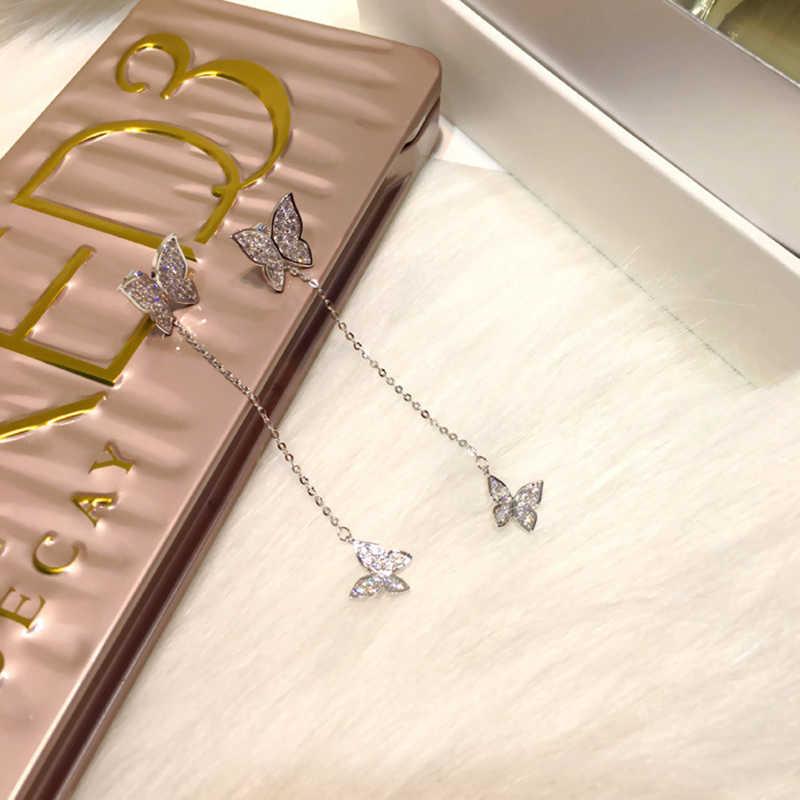 XIYANIKE-boucles d'oreilles en argent Sterling 925, Bijoux en cristal et papillons pour femmes, éblouissantes, Micro CZ, Zircon, cadeau de noël