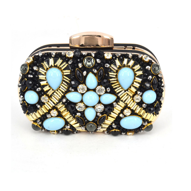 New Plastic Beaded Red Women Lord Fashion Clutch Wedding bag Elegant Banquet Handbag Evening Party Purse Blue Green Black G806