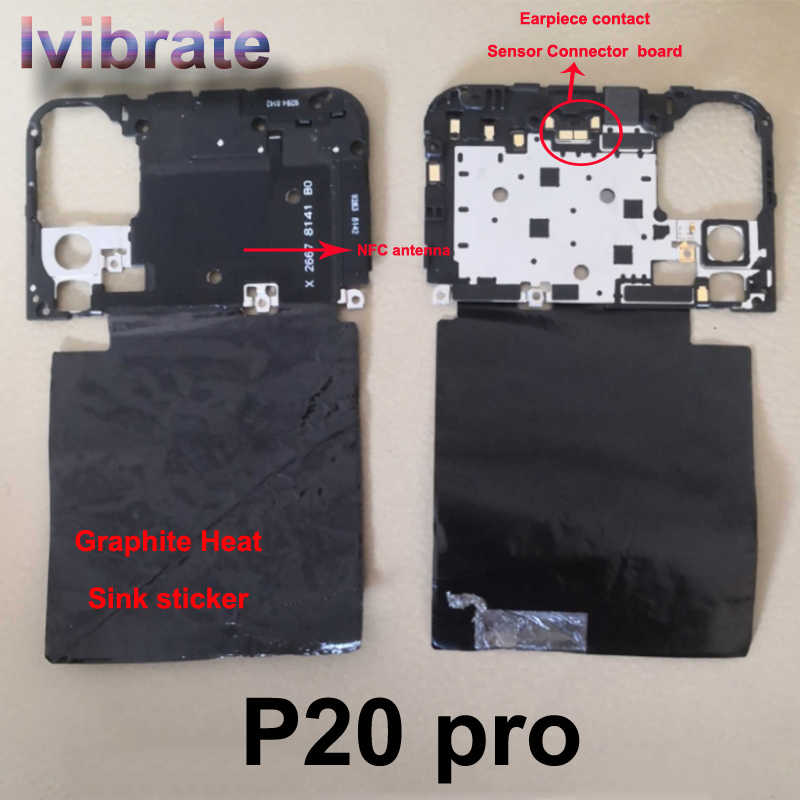 For Huawei P20 pro P20pro Back Frame shell case cover on Motherboard with Earpiece Receiver NFC antenna Heat Sink sticker repair